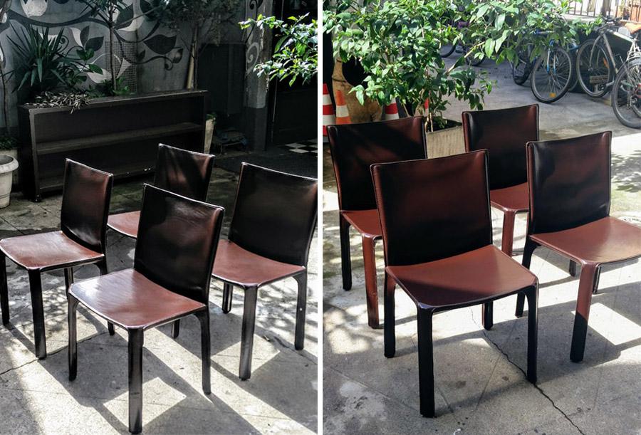 Rifacimento sedie in vera pelle